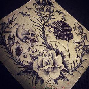 Kiss of Death via instagram maryjoytattoo #handkerchief #flashart #art #skull #woman #death #maryjoy