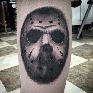 Jason Voorhees hockey mask by Shane Murphy. #blackandgrey #realism #horror #hockeymask #JasonVoorhees #Fridaythe13th #ShaneMurphy