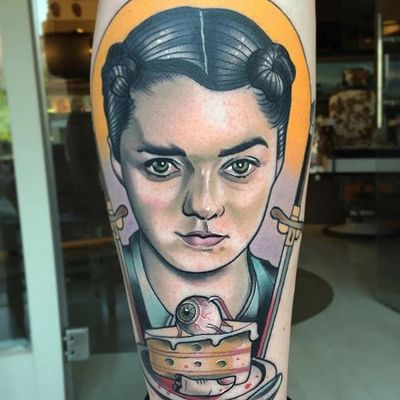Arya Stark from HBO's adaptation of Game of Thrones from Roger Mares' body of work (IG—mares_tattooist). #AryaStark #GameofThrones #HBO #neotraditional #portraiture #RogerMares