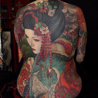 Land of the Rising Sun back-piece by Jeff Gogue #gogueart #jeffgogue #Japanese #neotraditional #mashup #illustrative #geisha #cherryblossom #pagoda #crane #flowers #nature #backpiece #color #portrait #lady #tattoooftheday