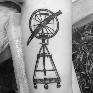 Classic rendering of a telescope. (via IG - amberktattoos) #telescope #TelescopeTattoo #TelescopeTattoos #Science