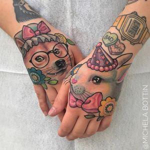Sweet animal tattoos by Michela Bottin #MichelaBottin #handtattoos #color #newschool #cute #dog #doge #glasses #flowers #bunny #rabbit #partyhat #bow #ribbon #candyhearts #watch #tattoooftheday