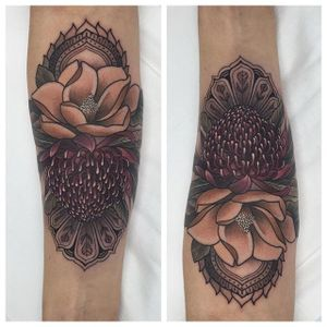 A pairing of a lotus and a chrysanthemum by Ellie Thompson (IG—ellietattoo). #chrysantehmum #EllieThompson #flowers #lotus #neotraditional #ornamental