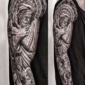 An astounding sleeve full of Christian iconography by Lil B (IG—lilbtattoo). #angel #blackandgrey #God #LilB #realism #religious #RobinHernandez