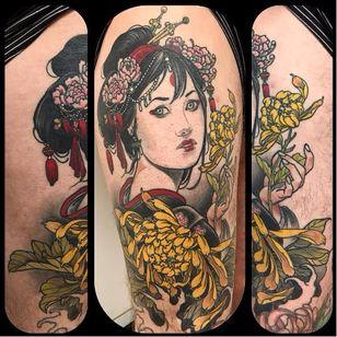 Geisha tattoo by Jurgen Eckel #JurgenEckel #neotraditional #lady #geisha