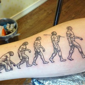 The evolution of man. (via IG - josephineholroyd) #ScienceTattoo #Science #ScienceTattoos #NerdTattoo #Evolution