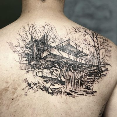 Falling Waters tattoo by aarchitattoo #aarchitattoo #favoritetattoo #linework #sketch #illustrative #FallingWaters #FrankLloydWright #house #architecture #building #waterfall #forest #landscape