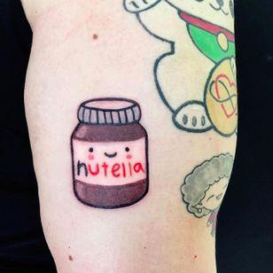 Kawaii Nutella jar Tattoo by Maria Truczinski #MariaTruczinski #Cartoon #Kawaii #Cartoontattoo #Kawaiitattoo #Nutella