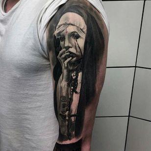Black and grey nun tattoo by Bart Janus. #nun #scary #horrifying #creepy #macabre #portrait #horror #blackandgrey #sinister #evil