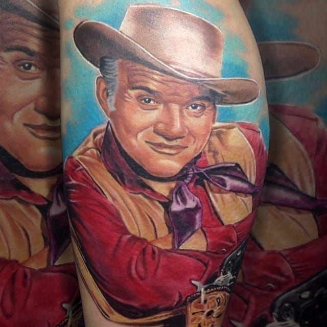 Incredible cowboy portrait tattoo done by Martin Kukol. #MartinKukol #realistic #mARTink #cowboy #portrait