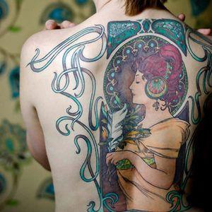 Now that's a lovely back piece 😦  Artist unknown #artdeco #artdecotattoos #backpiece #lady #ladytattoo