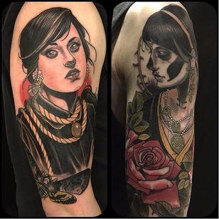 Two tattoos by Jurgen Eckel #JurgenEckel #neotraditional #lady