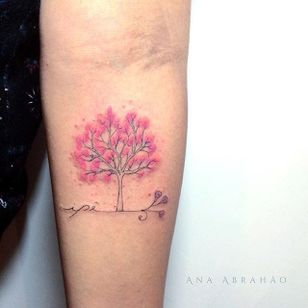 Fine line tattoo by Ana Abrahão. #AnaAbrahao #fineline #subtle #pastel #tree #sakura #cherryblossom