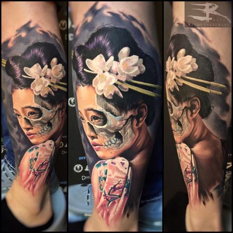Realismo impecável #RandyEngelhard #gueixa #gueixatattoo #japao #japan #tradição #cultura #mulher #woman #oriental #skull #caveira #flor #flower #realismo #realism #realismocolorido
