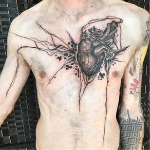 Anatomical heart tattoo by Ergo Nomik #ErgoNomik #blackwork #anatomicalheart