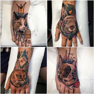 Animal tattoos by Julia Szewczykowska #JuliaSzewczykowska #dog #neotraditional #fox #cat #rabbit