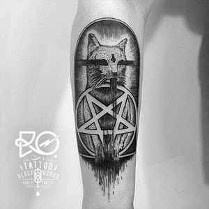 If Baphomet was a cat by Robert Pavez (IG—ro_tattoo). #Baphomet #blackwork #cat #RobertPavez #Satanism #SigilofBaphomet