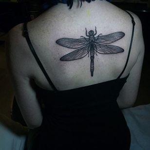 Dragonfly tattoo by Savannah Colleen McKinney. #blackwork #linework #dotwork #SavannahColleenMcKinney #insect #dragonfly