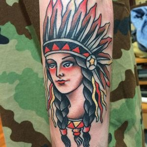 Native American by Nick Rutherford. #traditional #NickRutherford #tattooflash #nativeamerican