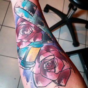Watercolor tattoo by Russel Van Schaick #RusselVanSchaick #filmroll #watercolor #rose