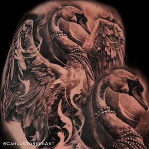 Beautiful swan tattoo #carlostorres #blackandgrey #swan