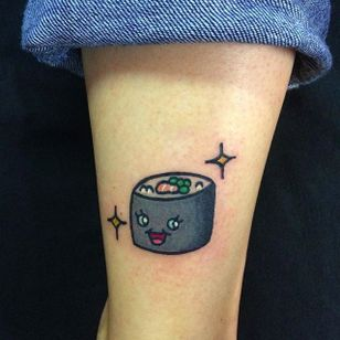Sushi Tattoo by Maria Truczinski #MariaTruczinski #Cartoon #Kawaii #Cartoontattoo #Kawaiitattoo #Sushi