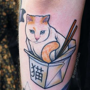 Cat and take-out tattoo by AlexineTattoo #Alexinetattoo #cattattoos #color #realism #realistic #neotraditional #mashup #kanji #chopsticks #takeout #foodtattoo #petportait #cat #chinesefood #box