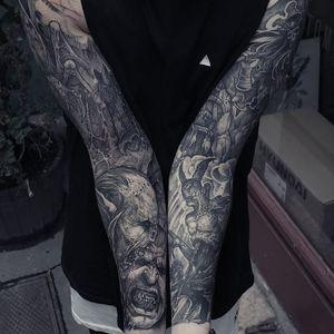 Impressive sleeves by Robert A. Borbas #RobertABorbas #blackwork #blckwrk #macabre #demon #devil #hell