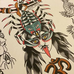 Scorpion Woman by Shaun Bailey (via IG-bailey_tattooer) #flashfriday #flashart #fineart #flash #carnival #shaunbailey
