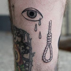 Crying eye and noose by Sven Eigengrau. #blackwork #SvenEigengrau #linework #noose #eye #eyeball #tears #crying