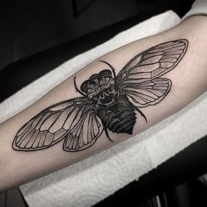 A cicada by Otheser (IG—otheser_dsts) in his solely illustrative mode. #black and grey #cicada #Otheser