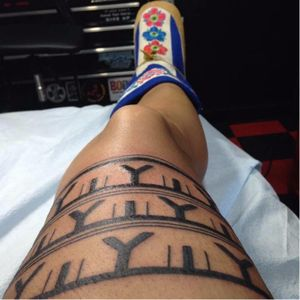 Leg tattoos are also traditional within the community. #Inuittattoos #legtattoo  #traditional #tribal