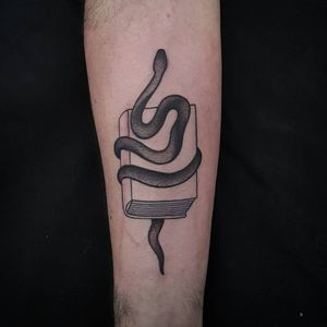 book and snake tattoo by Uve #Uve #graphic #blackandgrey #bold #popart #book #snake #reptile #nature