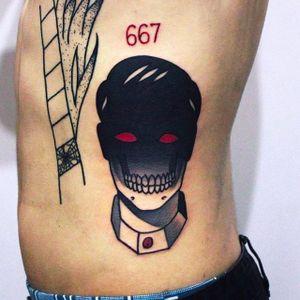 Creepy faceless man tattoo by @maradentattoo #maradentattoo #black #red #blackandredtattoo #oddtattoos #faceless