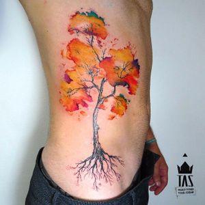 Tree Tattoo by Rodrigo Tas #WatercolorTattoos #WatercolorTattoo #WatercolorArtists #Watercolor #Brazil #BrazilianTattooArtists #RodrigoTas #tree #watercolortree