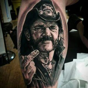 Lemmy from Motorhead tattoo by Rob Steele #RobSteele #motorhead #lemmy #portrait #celeb #realism