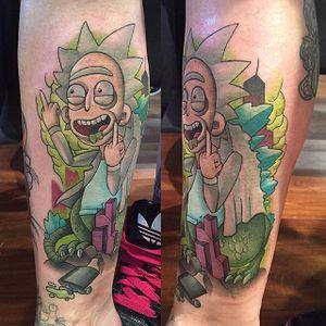 Rickzilla tattoo by Jack Douglas. #newschool #JackDouglas #rickzilla #godzilla #RickAndMorty