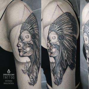 Double exposure tattoo by Monika Malewska #MonikaMalewska #monochrome #doubleexposure #nativeamerican