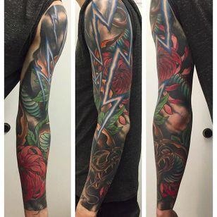 Arm sleeve by Martin Gustafsson (via IG -- martin_lucky7) #martingustafsson #snake #lightning #floral #sleeve