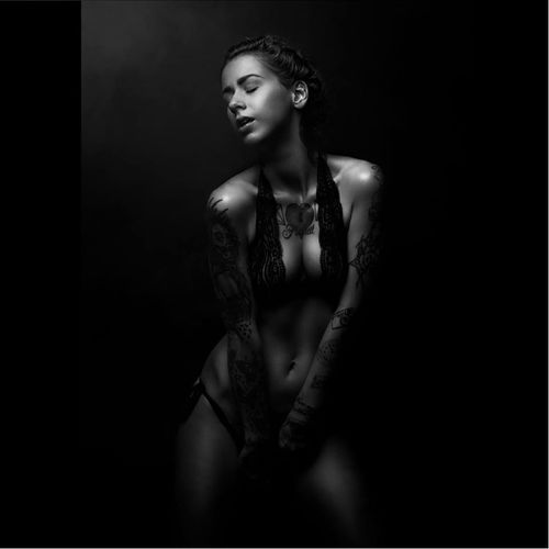 Model Arcticas Nightmare photographed by Florian Böcking #FlorianBöcking #photography #tattooedmodel #lingerie #ArtictasNightmare