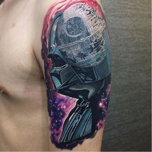 Por Dean Ink #DeanInk #DarthVaderTattoo #DarthVader #DarkSide #StarDeath #galaxy