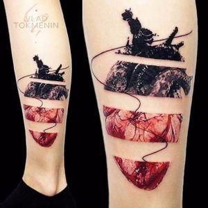 Anatomical heart tattoo by Vlad Tokmenin. #VladTokmenin #anatomicalheart #aesthetic #alternative #contemporary #digitalart
