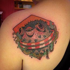 Pufferfish Tattoo by Speak Easy Tattoo Parlour #pufferfish #fish #sealife