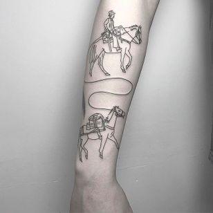 Cowboy and Horses Tattoo by Caleb Kilby @CalebKilby #CalebKilby #CalebKilbyTattoo #Blackwork #Minimalist #Linework #Black #TwoSnakesTattoo #London #Cowboy #Horse