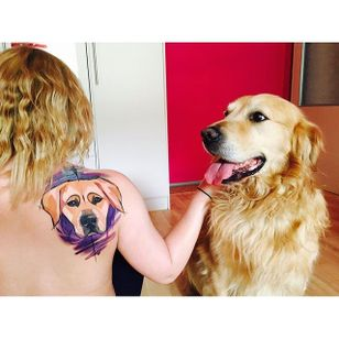 A Golden Retriever proud of its owner's tattoo. Tattoo by Szabi. #goldenretriever #dog #sketch #watercolor #Szabi