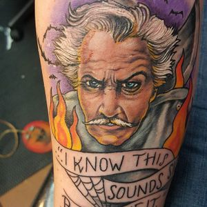 Vincent Price Tattoo by Tony Powers #VincentPrice #VincentPriceTattoos #ActorTattoos #HollywoodTattoos #ClassicActor #TonyPowers #actorportrait #hollywood #portrait