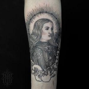 Joan of Arc tattoo by Abby Drielsma. #AbbyDrielsma #blackwork #blckwrk #btattooing #dotshading #joanofarc #portrait #icon #history