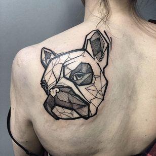 Graphic tattoo by Szejn Szejnowski @szejno #geometric #graphic #bulldog #bulldogtattoo #blackwork #SzejnSzejnowski