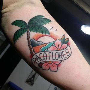 Beach tattoo by Neme Tattoo. #beach #summer #paradise #ocean #vacation #getaway #traditionalamerican