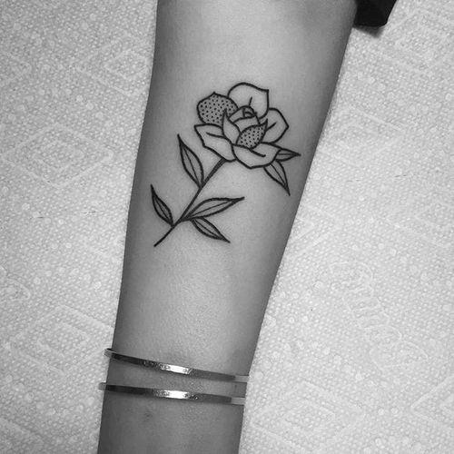 Delicate rose. #LydiaMarier #blackwork #blackworker #rose #flower #illustrative #blackink
